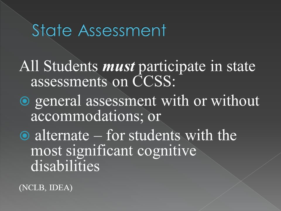 All Students must participate in state assessments on CCSS:  general assessment with or without accommodations; or  alternate – for students with the most significant cognitive disabilities (NCLB, IDEA)