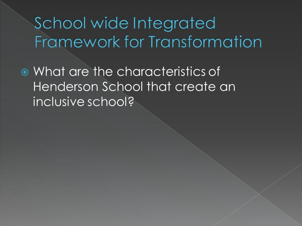  What are the characteristics of Henderson School that create an inclusive school