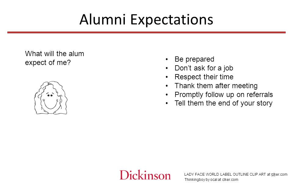 Alumni Expectations Thinkingboy by ocal at clker.com What will the alum expect of me.