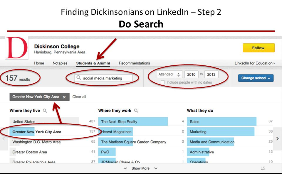 Finding Dickinsonians on LinkedIn – Step 2 Do Search 15