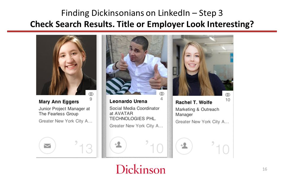 Finding Dickinsonians on LinkedIn – Step 3 Check Search Results.