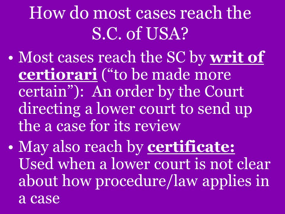 How do most cases reach the S.C. of USA.