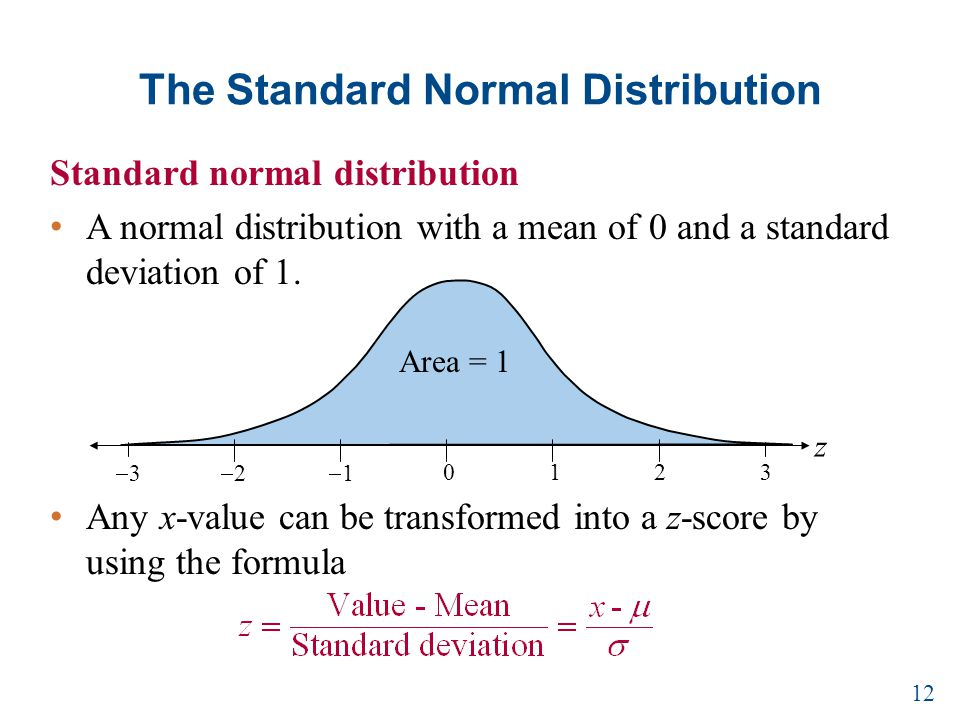 The Standard Normal Distribution Standard normal distribution A normal distribution with a mean of 0 and a standard deviation of 1.
