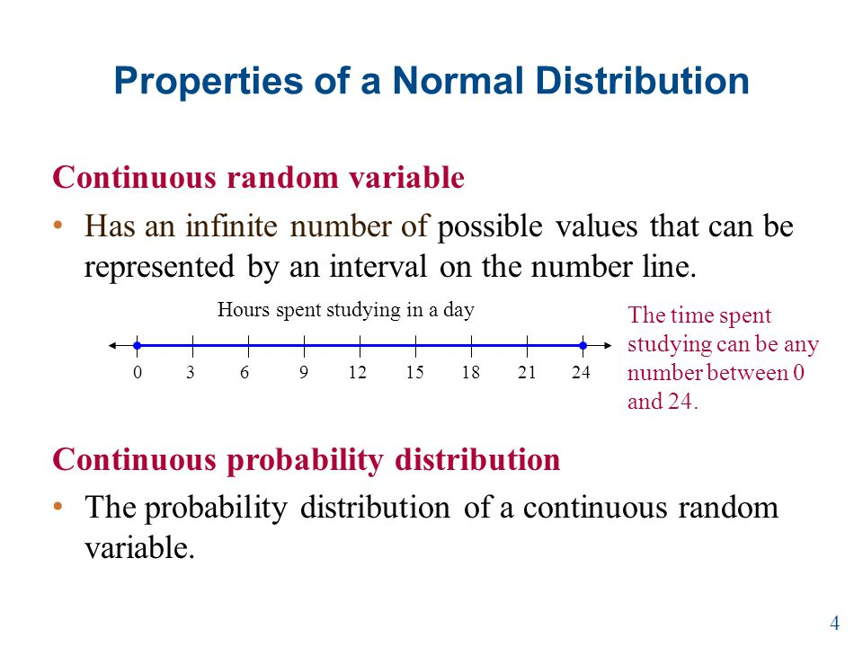 Properties of a Normal Distribution Continuous random variable Has an infinite number of possible values that can be represented by an interval on the number line.