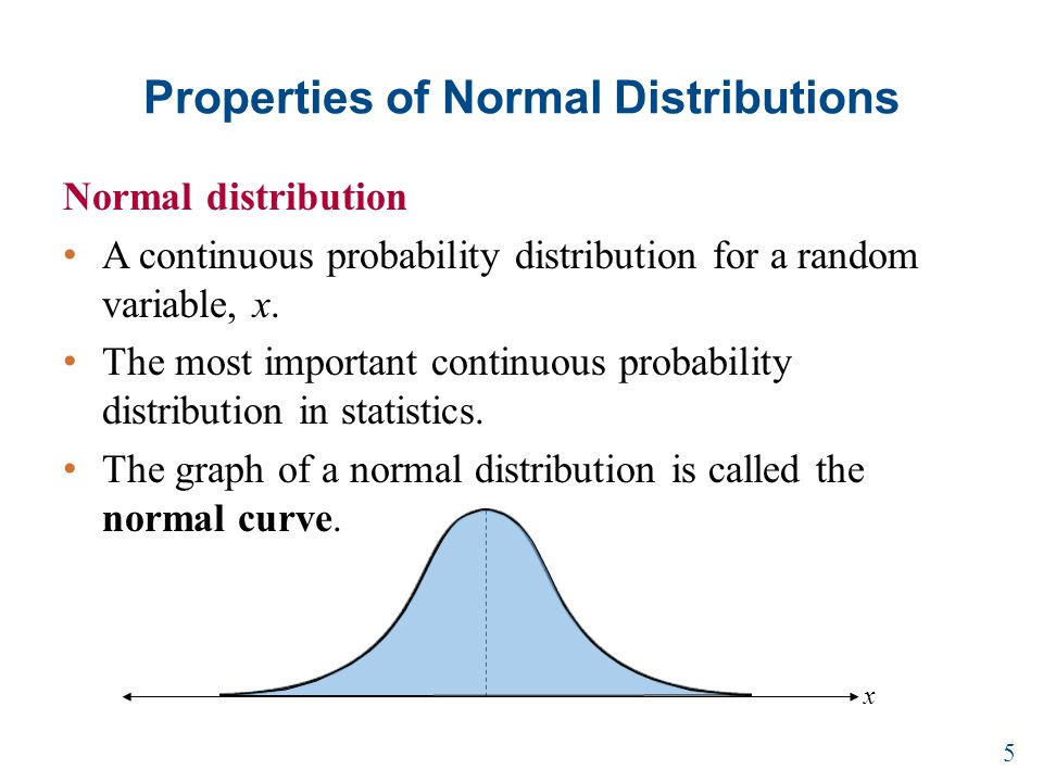 Properties of Normal Distributions Normal distribution A continuous probability distribution for a random variable, x.