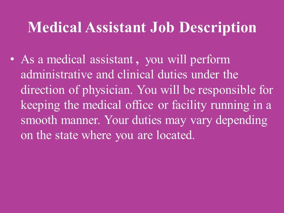 medical assistant job description duties