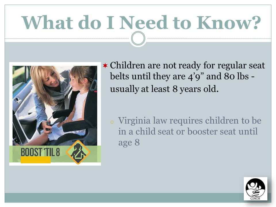 Child Booster Seat Seats Laws Va Florida