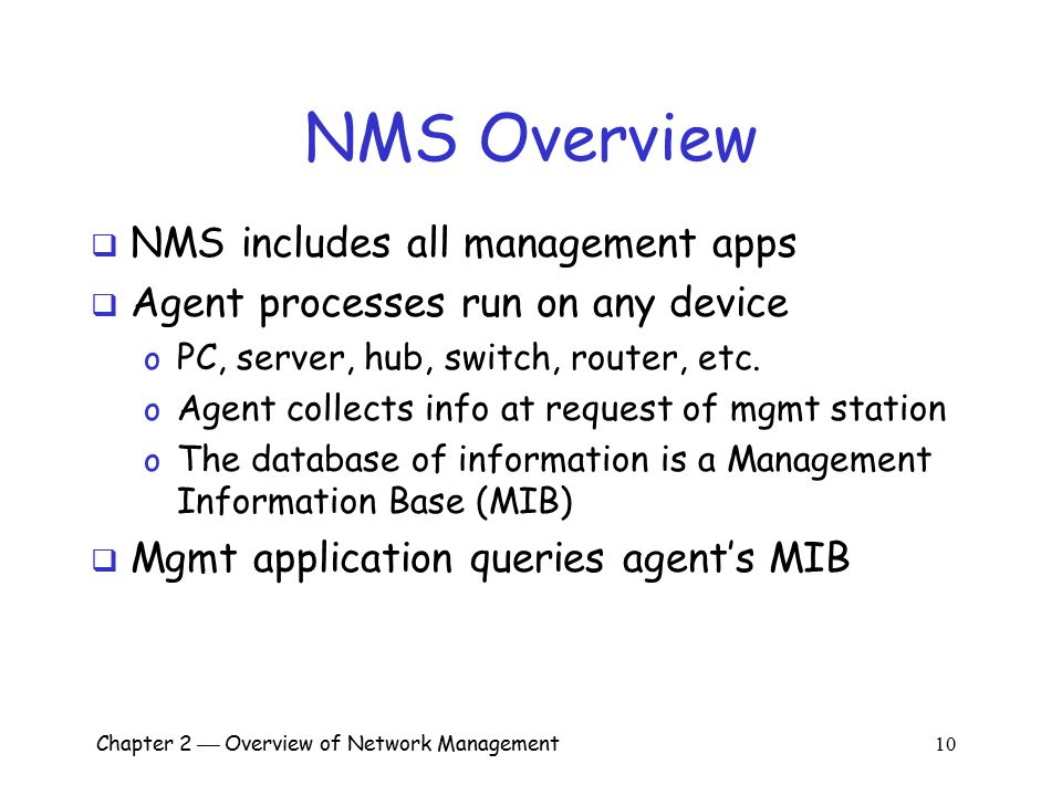 Chapter 2  Overview of Network Management 1 Chapter 2