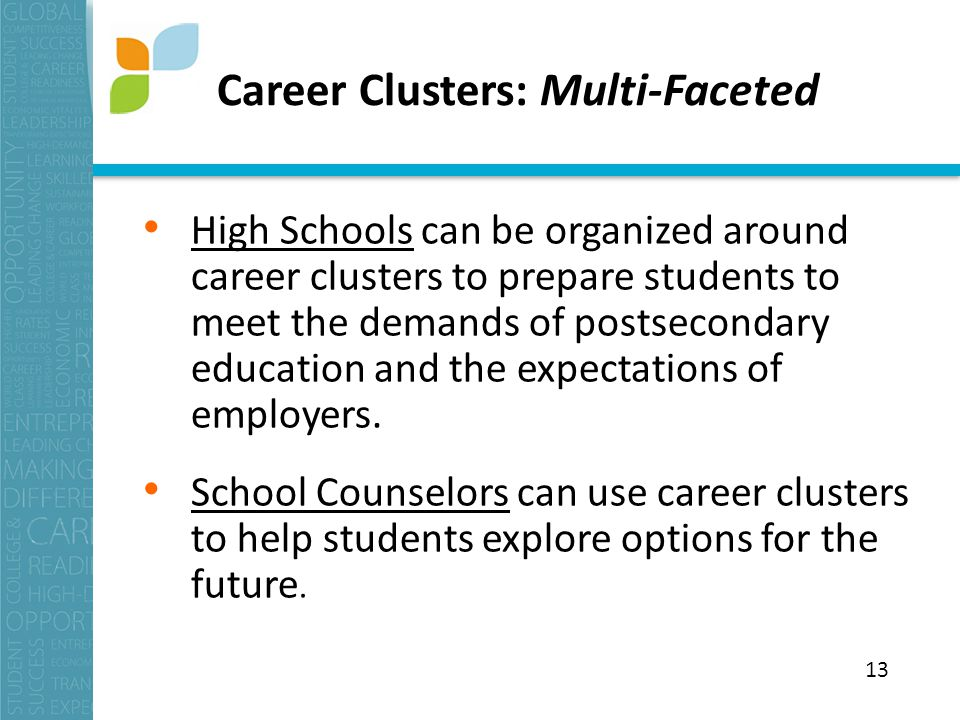 Career Clusters: Multi-Faceted High Schools can be organized around career clusters to prepare students to meet the demands of postsecondary education and the expectations of employers.