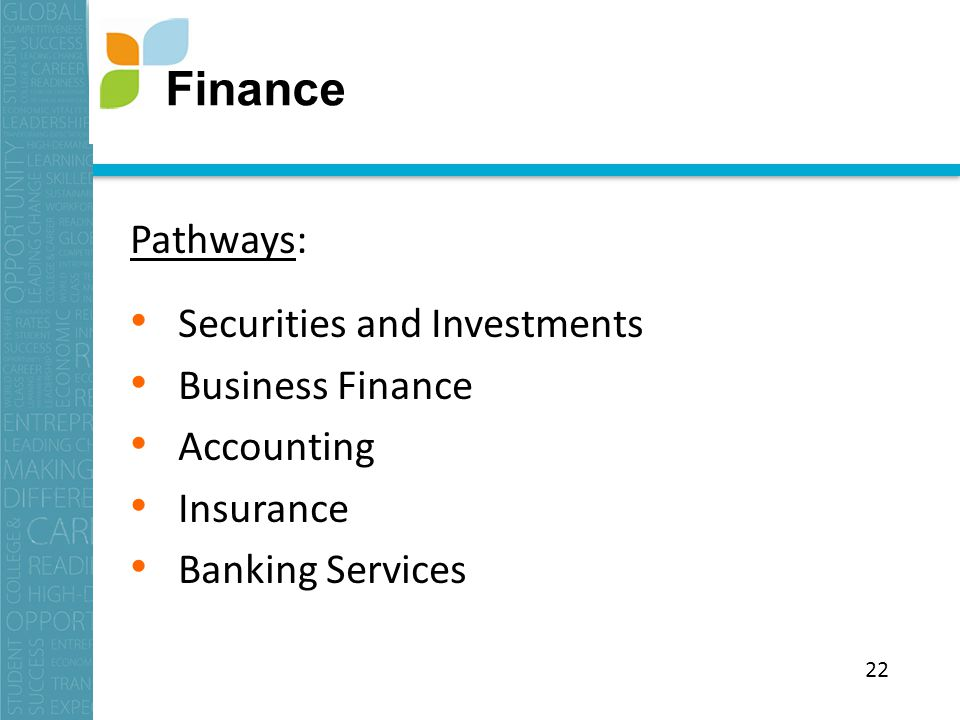 Pathways: Securities and Investments Business Finance Accounting Insurance Banking Services Finance 22