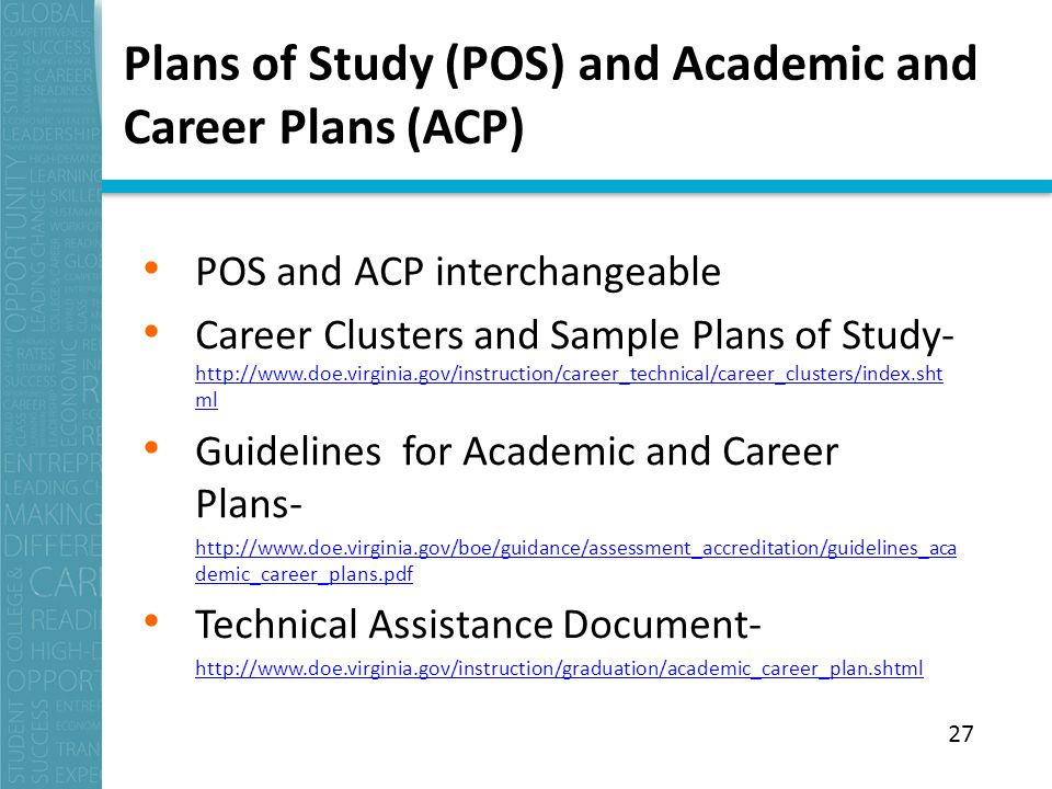 Plans of Study (POS) and Academic and Career Plans (ACP) POS and ACP interchangeable Career Clusters and Sample Plans of Study-   ml   ml Guidelines for Academic and Career Plans-   demic_career_plans.pdf Technical Assistance Document-   27