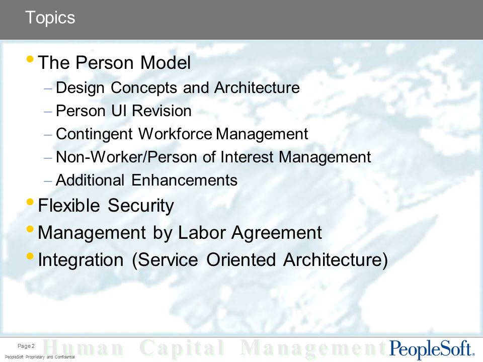 Human Capital Management PeopleSoft HCM 8 9 HRMS Overview