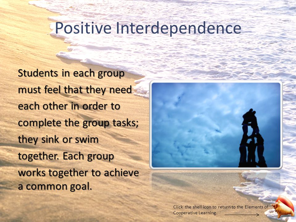 Positive Interdependence Students in each group must feel that they need each other in order to complete the group tasks; they sink or swim together.