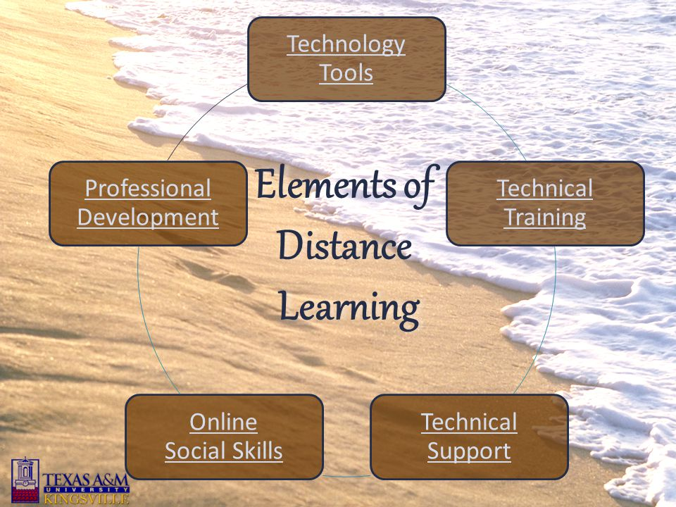Technology Tools Technical Training Technical Support Online Social Skills Professional Development Elements of Distance Learning Learning