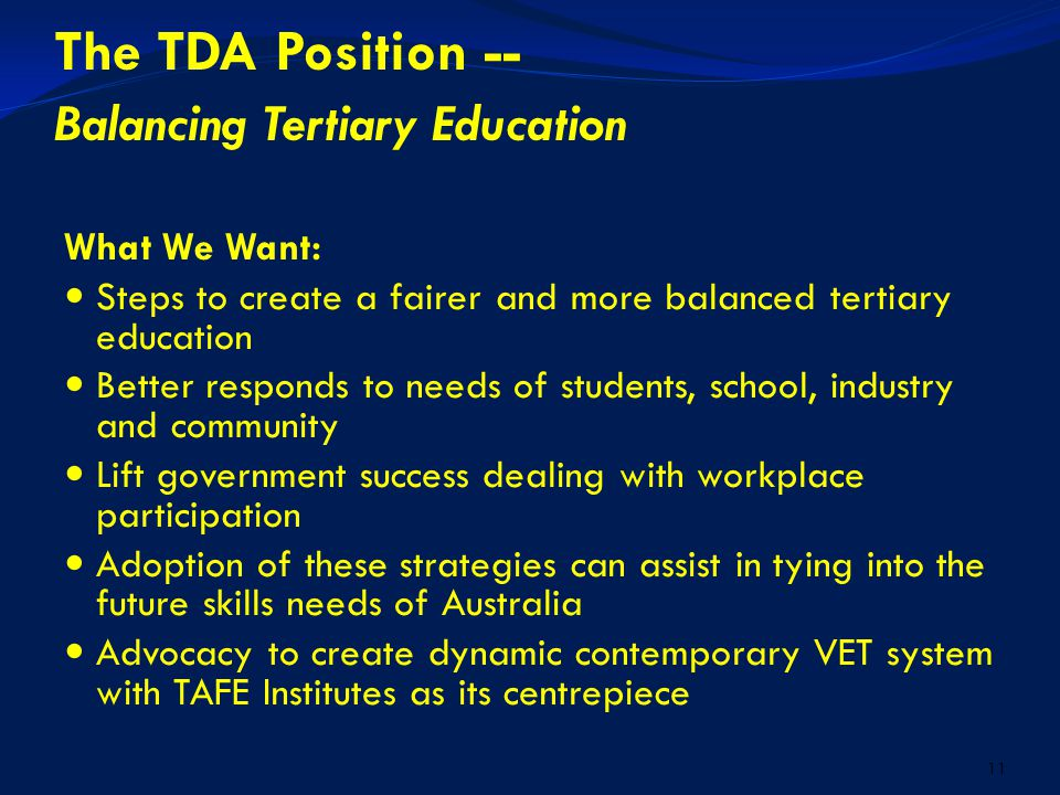 1 TAFE – Australia's Great Public Asset TDA – Its Role 4