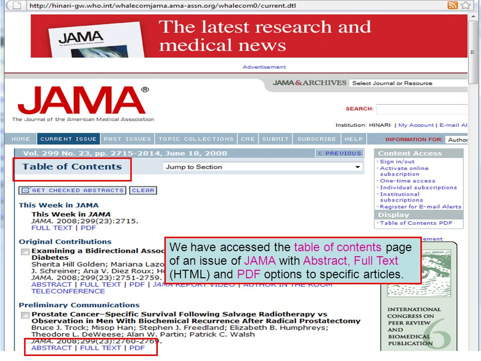 We have accessed the table of contents page of an issue of JAMA with Abstract, Full Text (HTML) and PDF options to specific articles.