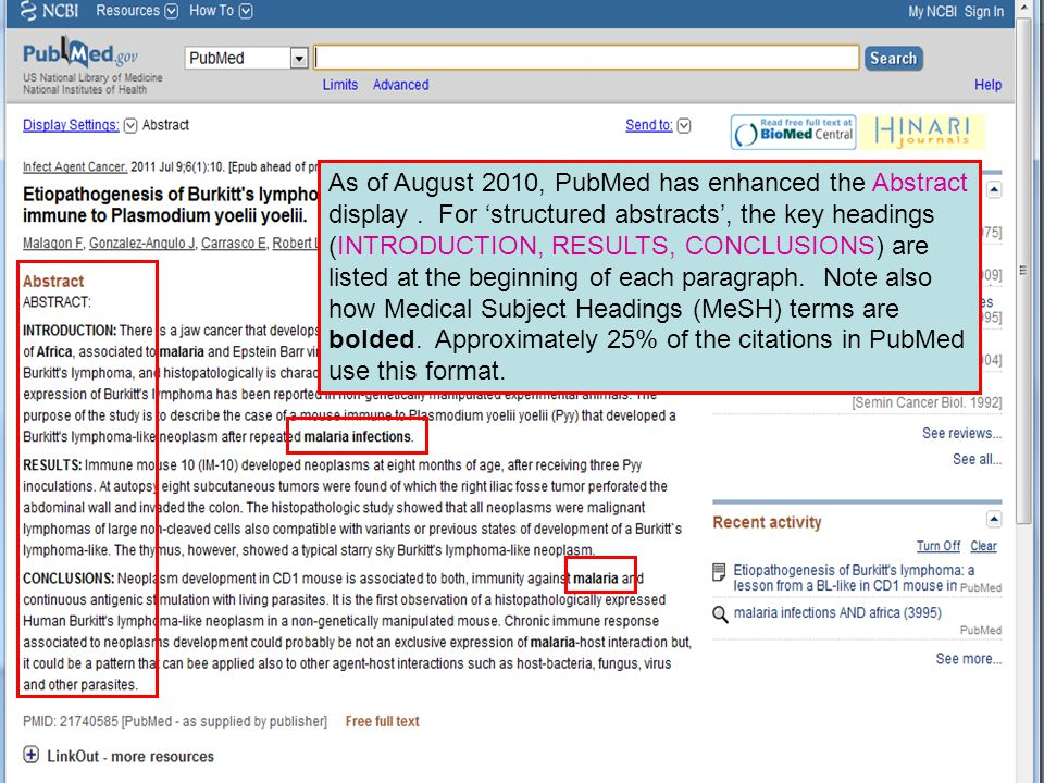 As of August 2010, PubMed has enhanced the Abstract display.