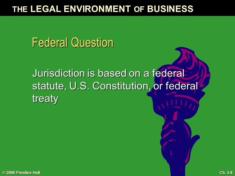 Federal Question Jurisdiction is based on a federal statute, U.S.