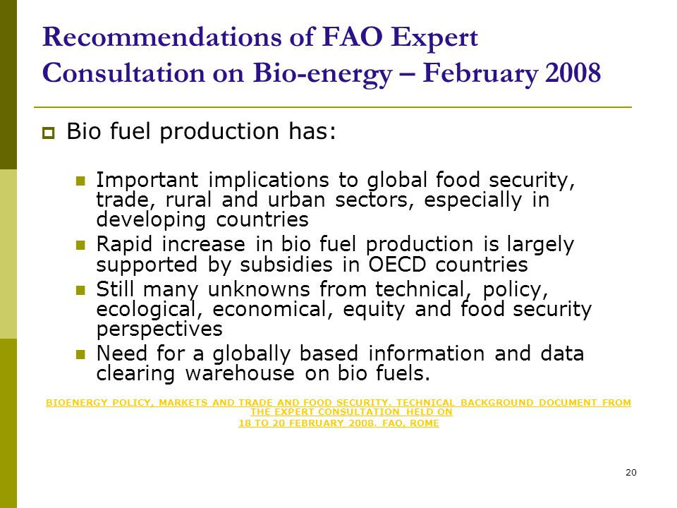 20 Recommendations of FAO Expert Consultation on Bio-energy – February 2008  Bio fuel production has: Important implications to global food security, trade, rural and urban sectors, especially in developing countries Rapid increase in bio fuel production is largely supported by subsidies in OECD countries Still many unknowns from technical, policy, ecological, economical, equity and food security perspectives Need for a globally based information and data clearing warehouse on bio fuels.