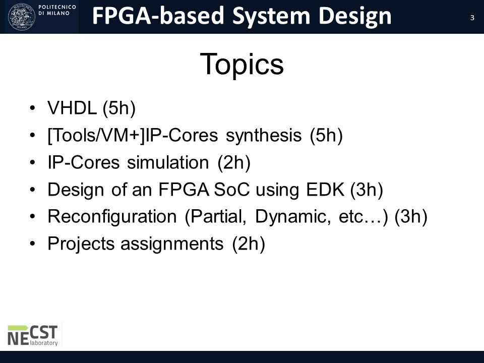 FPGA-based System Design Course Introduction Marco D