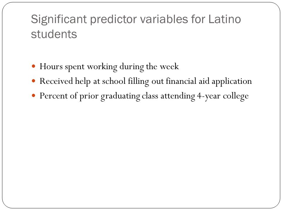 Significant predictor variables for Latino students Hours spent working during the week Received help at school filling out financial aid application Percent of prior graduating class attending 4-year college