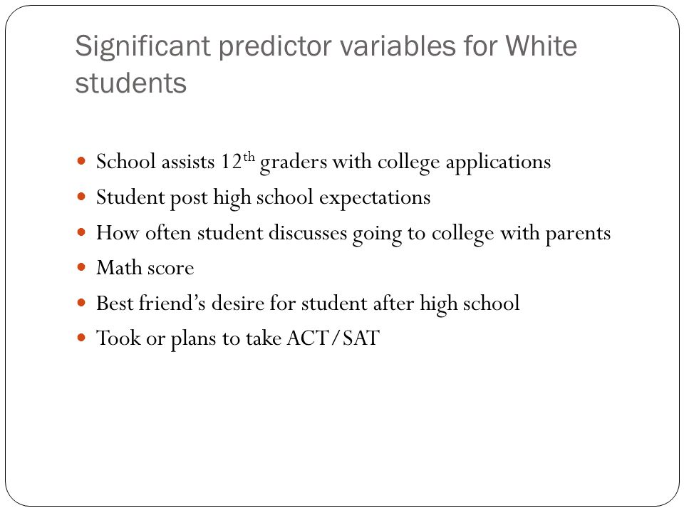 Significant predictor variables for White students School assists 12 th graders with college applications Student post high school expectations How often student discusses going to college with parents Math score Best friend's desire for student after high school Took or plans to take ACT/SAT