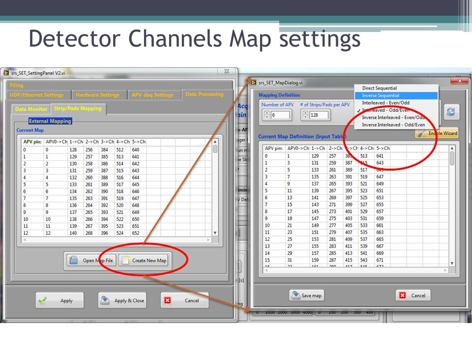 Detector Channels Map settings