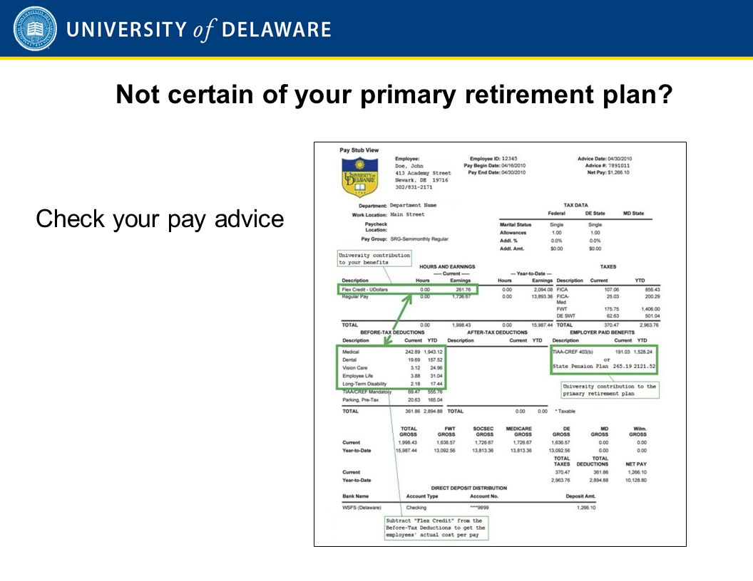 Not certain of your primary retirement plan Check your pay advice