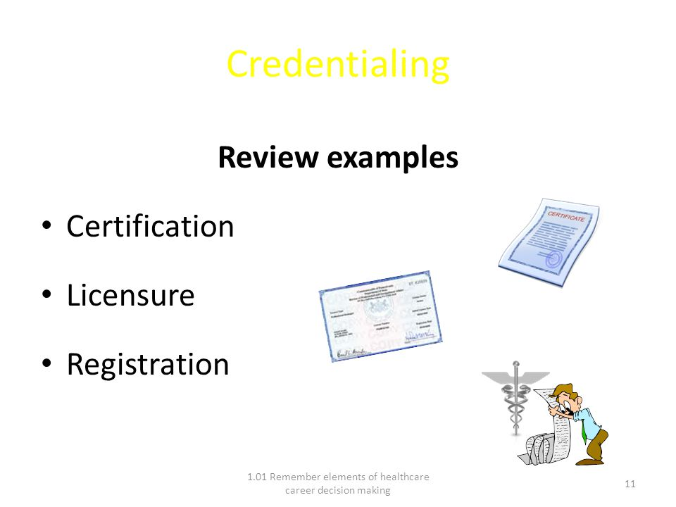 Credentialing Review examples Certification Licensure Registration 1.01 Remember elements of healthcare career decision making 11