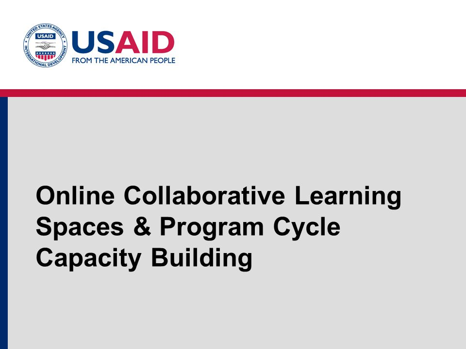 Online Collaborative Learning Spaces & Program Cycle Capacity Building