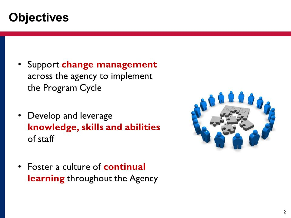 2 Objectives Support change management across the agency to implement the Program Cycle Develop and leverage knowledge, skills and abilities of staff Foster a culture of continual learning throughout the Agency
