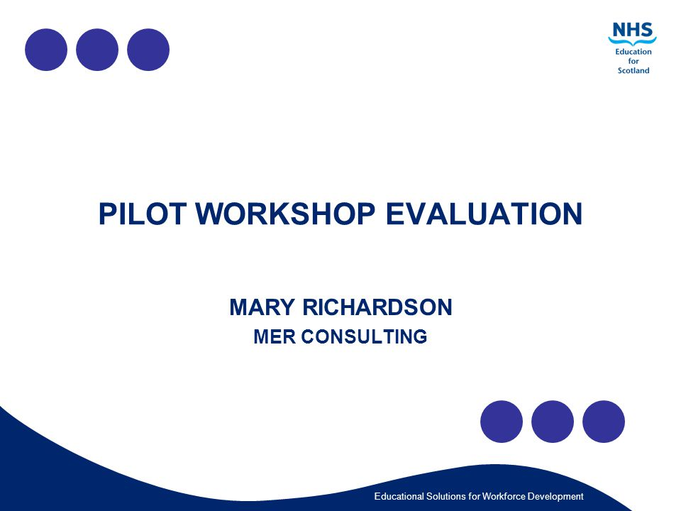 Educational Solutions for Workforce Development PILOT WORKSHOP EVALUATION MARY RICHARDSON MER CONSULTING