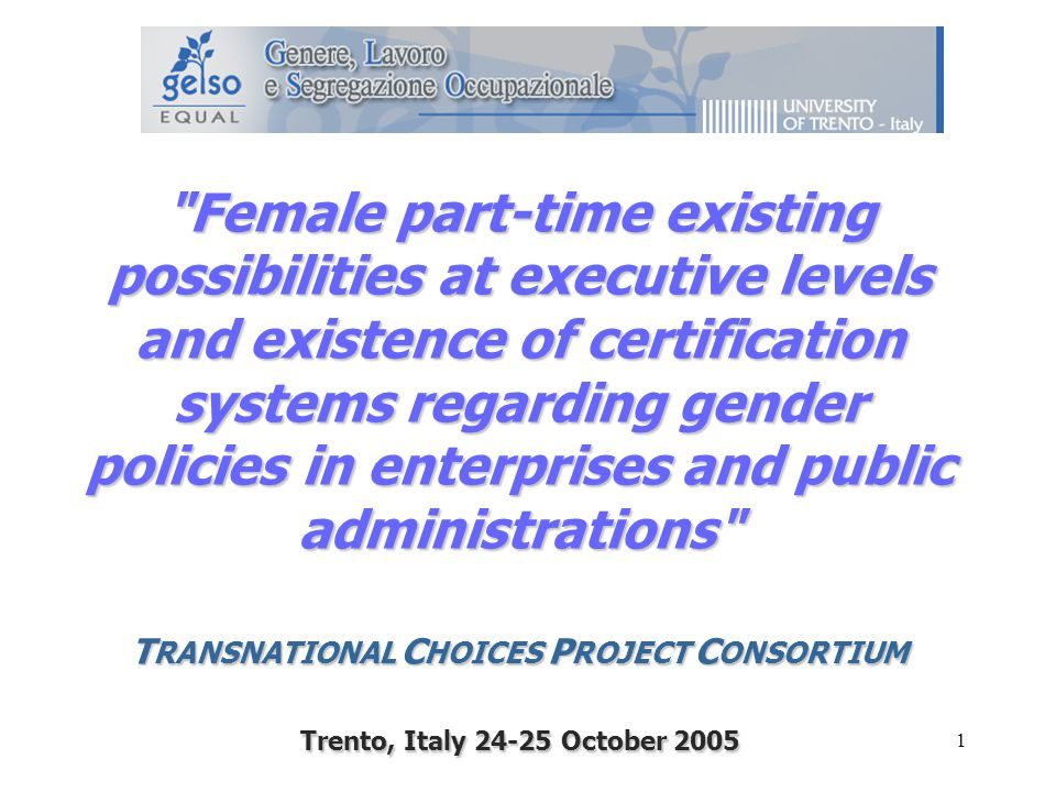 1 Female part-time existing possibilities at executive levels and existence of certification systems regarding gender policies in enterprises and public administrations T RANSNATIONAL C HOICES P ROJECT C ONSORTIUM Trento, Italy October 2005