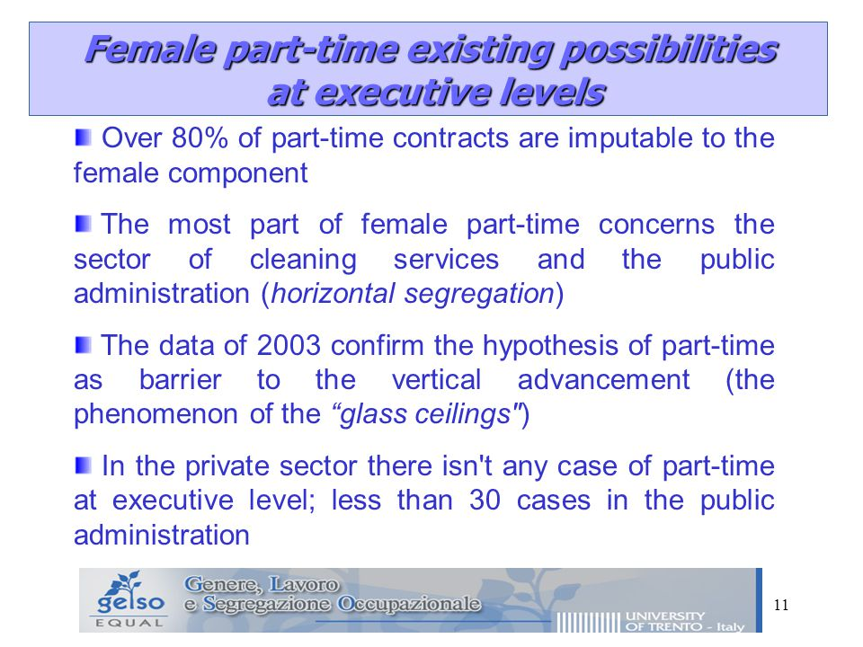 11 Female part-time existing possibilities at executive levels at executive levels Over 80% of part-time contracts are imputable to the female component The most part of female part-time concerns the sector of cleaning services and the public administration (horizontal segregation) The data of 2003 confirm the hypothesis of part-time as barrier to the vertical advancement (the phenomenon of the glass ceilings ) In the private sector there isn t any case of part-time at executive level; less than 30 cases in the public administration