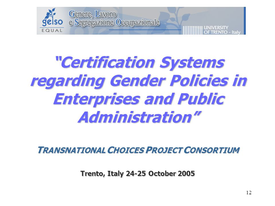 12 Certification Systems regarding Gender Policies in Enterprises and Public Administration T RANSNATIONAL C HOICES P ROJECT C ONSORTIUM Trento, Italy October 2005