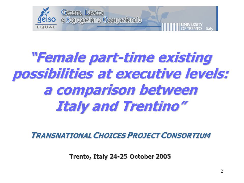 2 Female part-time existing possibilities at executive levels: a comparison between Italy and Trentino T RANSNATIONAL C HOICES P ROJECT C ONSORTIUM Trento, Italy October 2005
