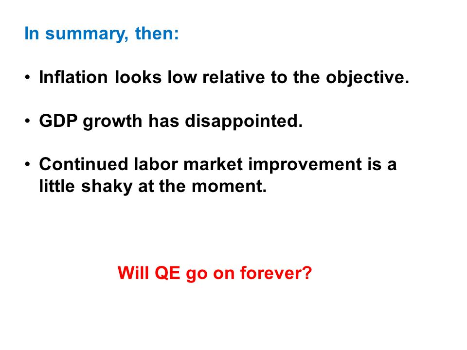 In summary, then: Inflation looks low relative to the objective.