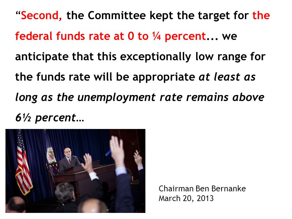 Second, the Committee kept the target for the federal funds rate at 0 to ¼ percent...