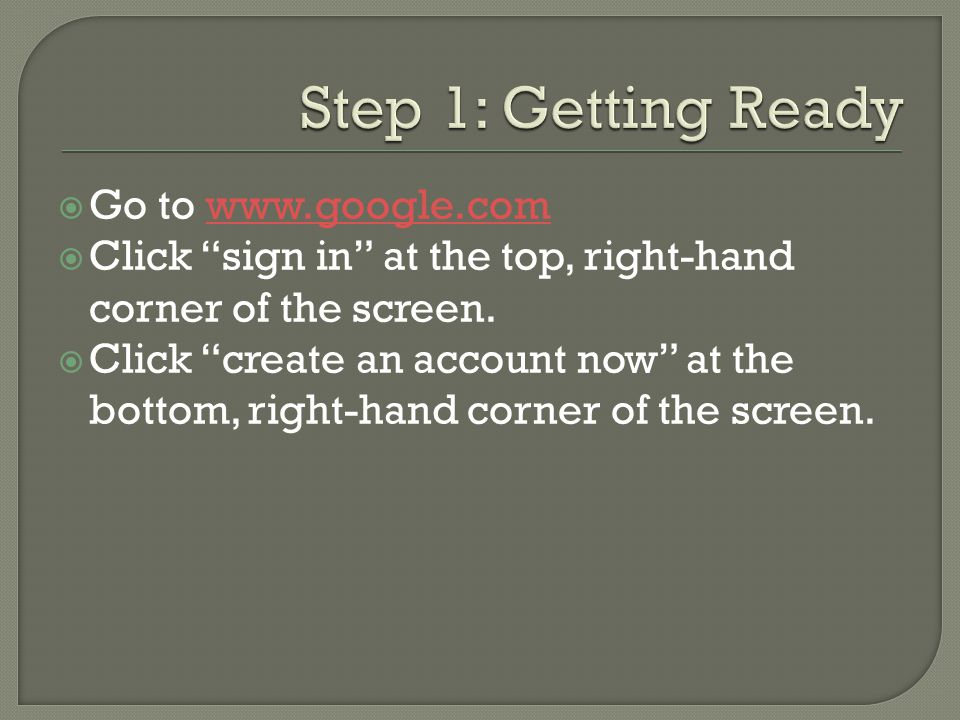  Go to    Click sign in at the top, right-hand corner of the screen.