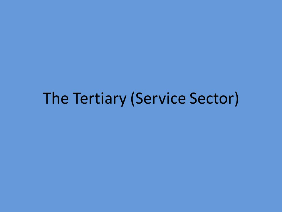 The Tertiary (Service Sector)