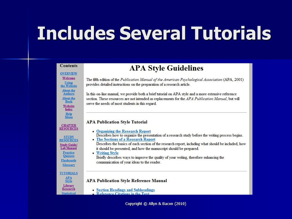 Includes Several Tutorials Copyright © Allyn & Bacon (2010)