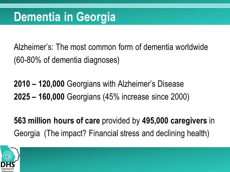 Dementia in Georgia Alzheimer's: The most common form of dementia worldwide (60-80% of dementia diagnoses) 2010 – 120,000 Georgians with Alzheimer's Disease 2025 – 160,000 Georgians (45% increase since 2000) 563 million hours of care provided by 495,000 caregivers in Georgia (The impact.