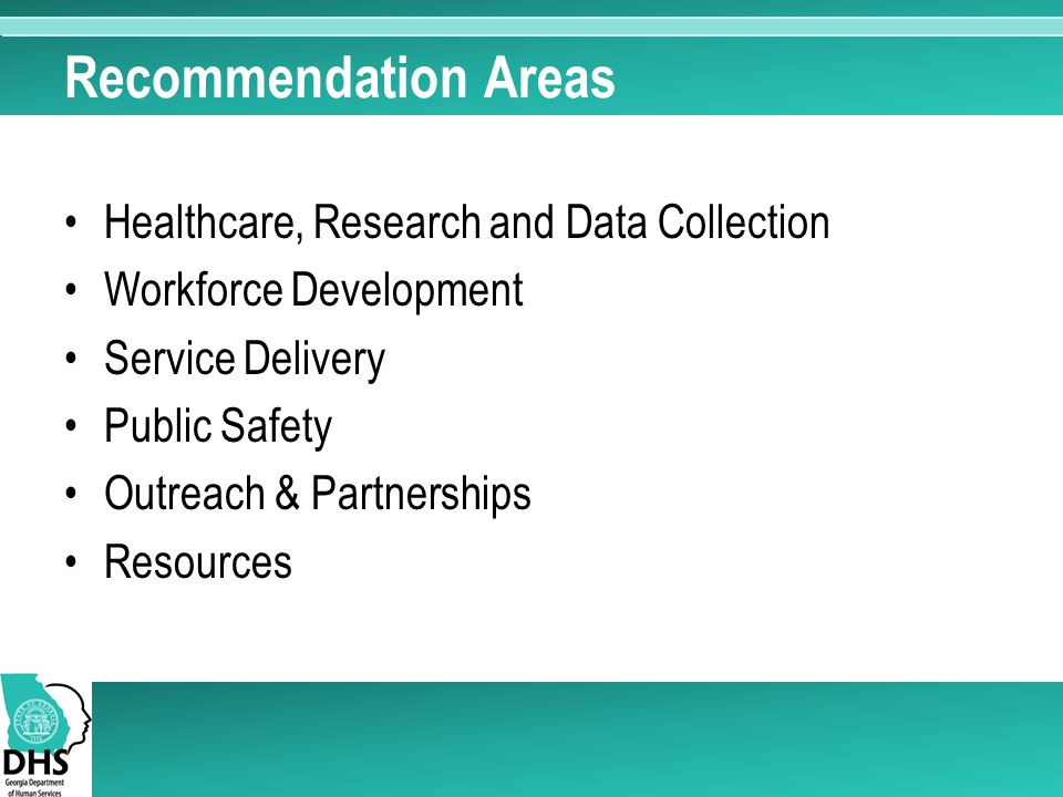 Recommendation Areas Healthcare, Research and Data Collection Workforce Development Service Delivery Public Safety Outreach & Partnerships Resources