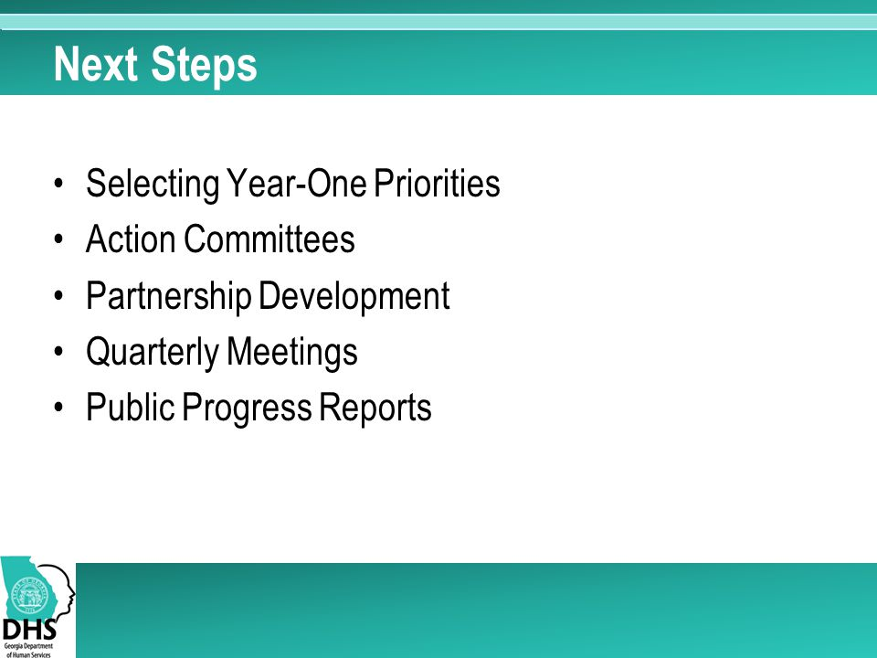 Next Steps Selecting Year-One Priorities Action Committees Partnership Development Quarterly Meetings Public Progress Reports