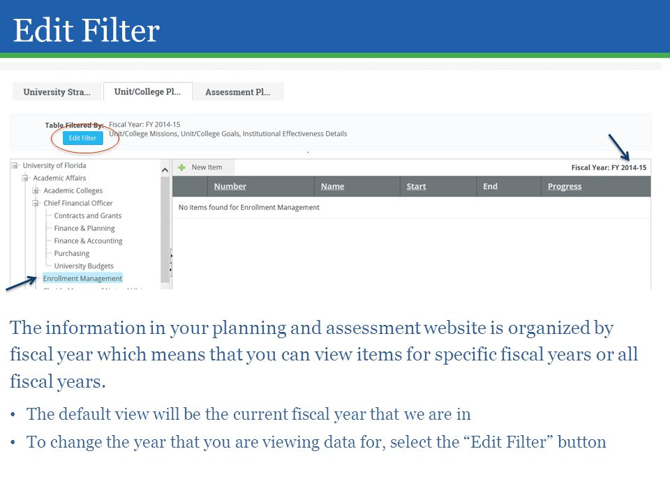 Edit Filter The information in your planning and assessment website is organized by fiscal year which means that you can view items for specific fiscal years or all fiscal years.