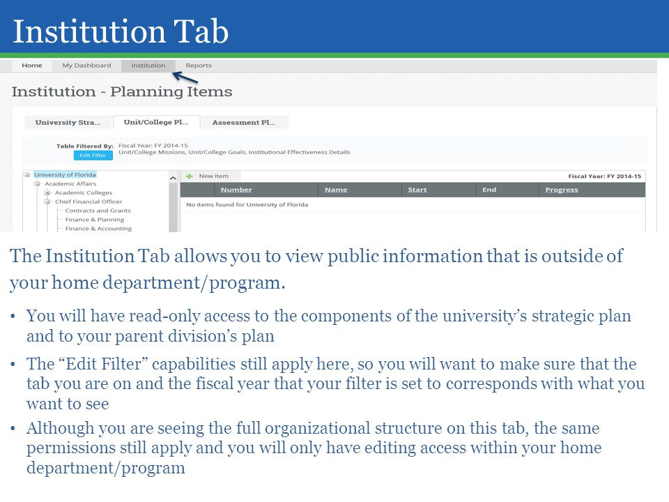 Institution Tab The Institution Tab allows you to view public information that is outside of your home department/program.