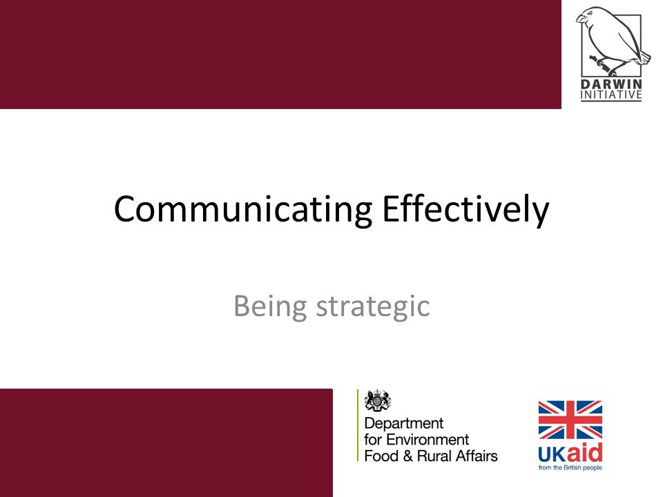 1 Communicating Effectively Being Strategic
