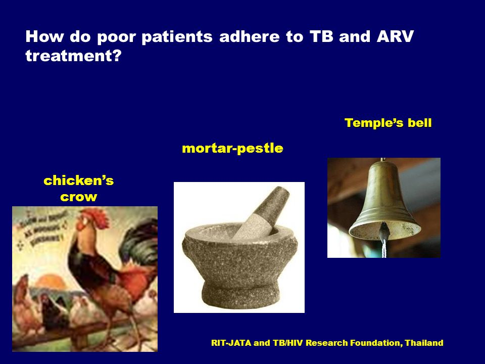 mortar-pestle chicken's crow How do poor patients adhere to TB and ARV treatment.