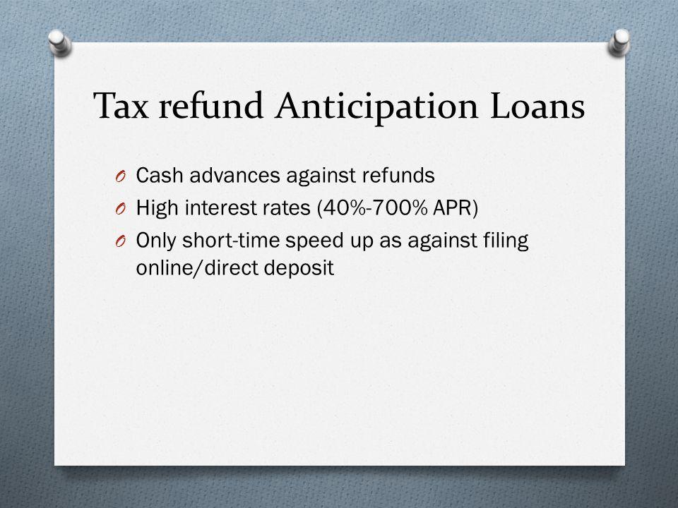 Tax refund anticipation loan interest rates