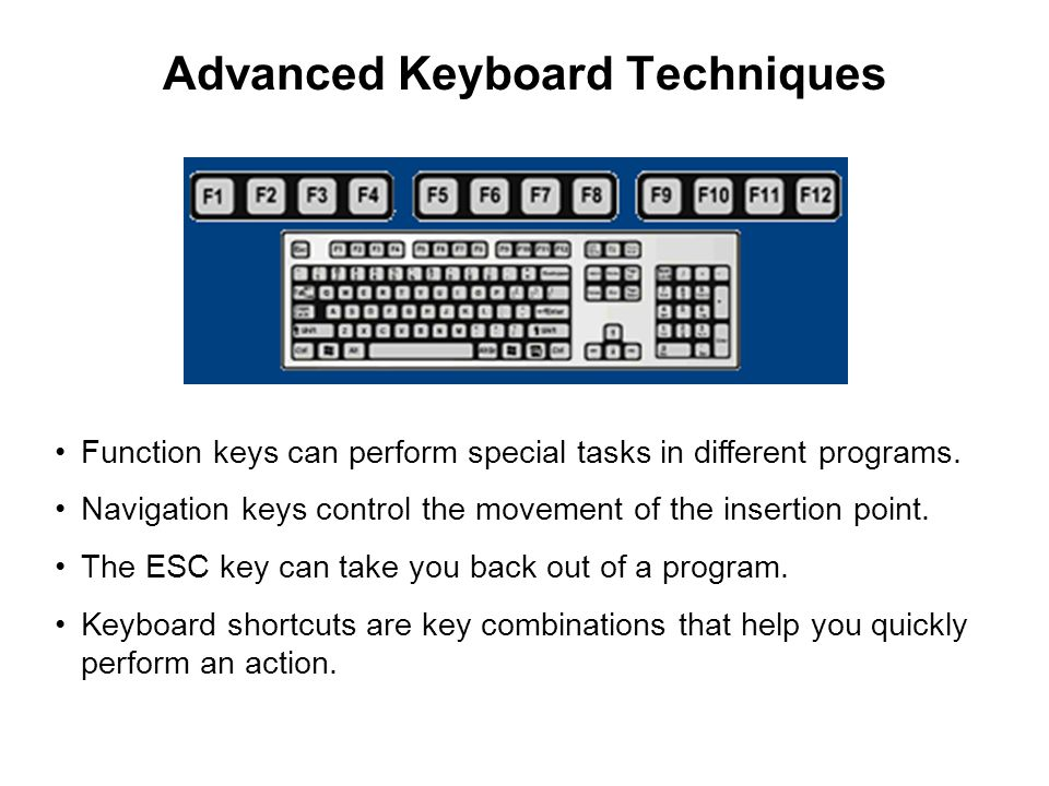 Advanced Keyboard Techniques Function keys can perform special tasks in different programs.